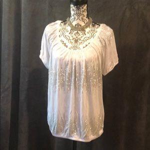 White rhinestone accented blouse